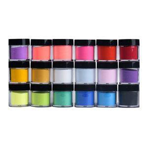 18 Colors Acrylic Nail Art Tips UV Gel Powder red purple pink Dust Design Decoration 3D DIY Decoration Set colorful Nail powder