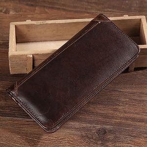 BAOERSEN en cuir pour homme Bifold bourse d'embrayage Sac argent ID / carte de crédit de trésorerie Coin poche Homme réel Portefeuille long en cuir de vache