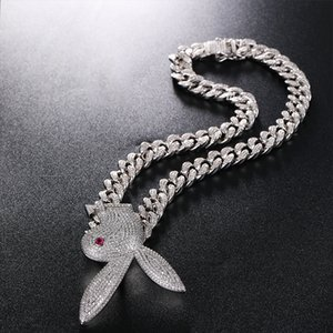 Hip Hop Bling Chains Jewelry Men Iced Out Pendant Bling Diamond Rabbit Fashion Animal Charms Gold Silver Necklace with Cuban Chain