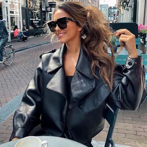 Ailegogo Yeni Geliş Kış Sonbahar 2019 Kadın Deri Cüzdan Campera chaqueta Cuero Mujer Modis Coat Kadınlar Veste Cuir De Couro