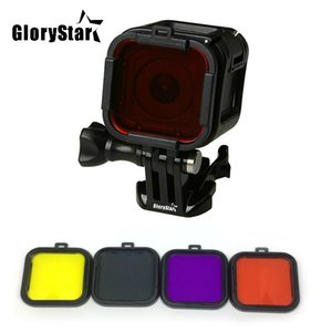 For Gopro 5 5s 4s 4 Session Accessories Underwater Diving Lens Filter Red Purple Pink Yellow Color Filter Cube Lens Protector