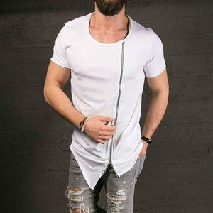 2019 Cotton Tee Men's Fashion Show Stylish Long T-shirt assimétrica lateral Zipper Big Neck Short T-shirt Masculina Hip Hop T-shirt grossista