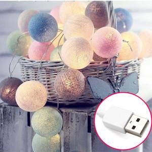 Cadeia de luz LED 3 M 20 LED corda de luz de algodão bola USB LED luzes de fadas Holiday guirlanda bolas decoração atmosfera bulbo cordas lâmpada