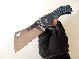Personalizzato Coltelli S35VN Lama Fragged campo mannaia coltello pieghevole Perfect Blue titanio maneggiare strumenti di sopravvivenza tattica EDC di trasporto