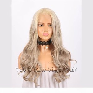 A Lace Front Wigs Full Lace Wigs Brazilian Remy Hair Grey Gloden Color Wave Free Part Pre Plucked Natural Hairline 8inch -26inch