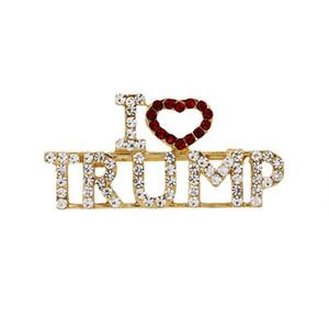 Alloy Rhinestone Brooch Corsage Glitter Letter I Love Trump Portable Breast pins Gold Color Lapel Badge Jewelry Fashion Accessories