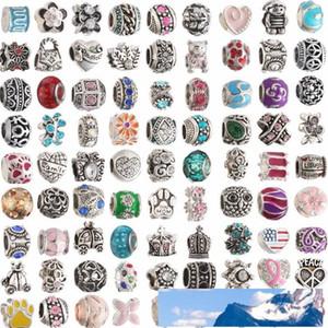 Mix Colors Metal ENAMEL Big Hole Loose Beads Charm For charm bracelet DIY JEWELRY MAKING