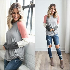 HISIMPLE 2019 Color Block Patchwork Outfits Blouse Long Sleeve Tunic Jumper Shirts O Neck Tops Pullovers Camisas Mujer Outfits Sweatshirt