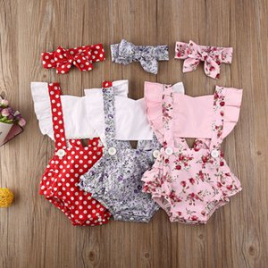 Новорожденный девочка одежда горошек печати цветок рукав ползунки комбинезон повязка на голову 3шт наряды Sunsuit лето Baby Girls Set