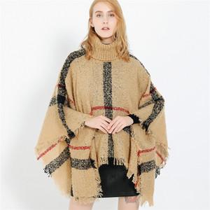Mulheres Xadrez Manto Outono Inverno Xaile Gola Alta Camisola Cachecol Borlas Batwing Poncho Para A Menina de malha capa outwear LJJA2978