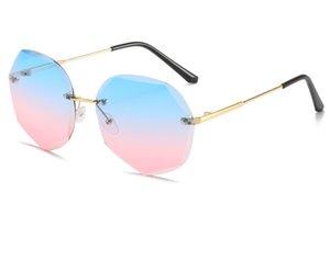 Горячая продажа Классический Polygonal Cut края Солнцезащитные очки для женщин с Rimless Солнцезащитные очки Big Face Тонкий без макияжа очков