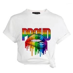 Top personalidad colores del arco iris Boca Imprimir verano de la mujer camiseta Diseñador Breve Donna camisetas de la moda casual dama