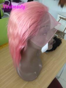 Brésilien Cheveux Vierge 13x4 Lace Front Wigs Rose Lace Front Corps droit Cheveux vague sur mesure faite avant avec bébé plectres cheveux