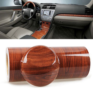 للحصول على سيارة DIY الداخلية 1PC 100 س 30cm عالية المصقول الخشب الحبوب الفينيل ملصق للماء مركب السيارات السيارات ملصق التفاف السينمائي