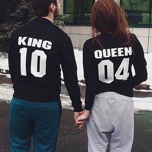 T shirt 2016 nuovi amori manica lunga Re Regina casuale delle signore degli uomini T-Shirt Top