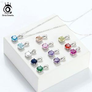 Kızlar SN118 için ORSA JEWELS 925 Gümüş Kadın Kolye 12 Renk Ay Şanslı Birthstone Zirkon kolye kolye