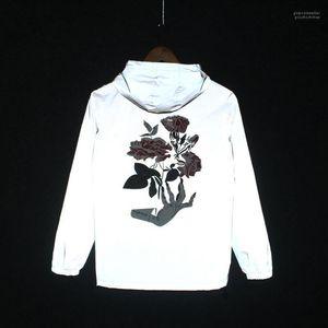 Printed Hihop Windjacke mit Kapuze Herbst Frühling 2020 Mens 3M Reflektierende Jacken-Rosen-Blumen