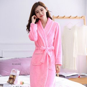 vhuXZ Season couple's nightgown men's and women's thickened coral fleece flannel Home clothes Bathrobe pajamas bathrobe long-sleeved pajamas