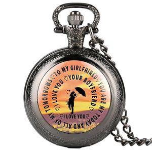 "Clásico reloj de bolsillo de cuarzo grabado para dama, ""Te amo tu novio"" Relojes de bolsillo, Collar de regalo especial Reloj de bolsillo para mujer"