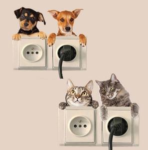 3D Agujero visión vivo del gato del perro del interruptor pegatinas baño Frigorífico Sala de estar Decoración Adhesivos Arte animal cartel de la pared etiqueta engomada