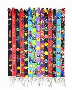 10pcs Lot Cartoon Super Mario Lanyard Mix Styles ID Holder Mobile phone Cell Long Strap