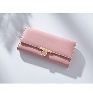 RFID bloqueio de couro com três dobras carteira de embreagem bolsas com bolso com zíper
