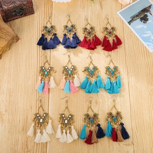 Hot sale new triangle V word water drop tassel earrings female European and American exotic style long alloy earrings