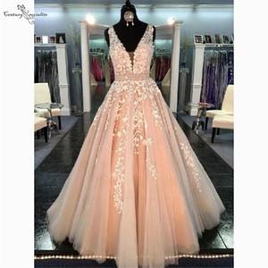 Blush Pink Prom Dresses Long Ivory Lace Appliques Beaded Lace Up Evening Dress Plus Size Party Gowns Vestidos De Festa