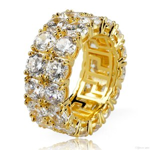 Uphot New Gold Silver Color Plated Microid 2 Row Tennis Chain Big Zircon Hip Hop Finger Ring for Men Women