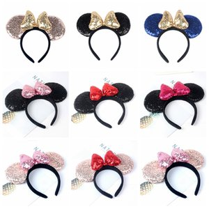 Sequin Souris Oreilles Bandeaux enfants Sequin Bow Bandeaux Hairband Baby Girls Birthday Party Brillant Coiffe HHA814