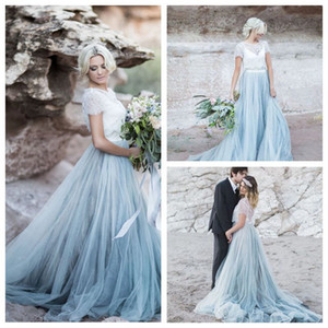 Exquisite White Dusty Blue Wedding Dress Set with Magic Tulle Skirt Rustic Trendy Wedding Gown Lace Top Sophisticated Two Piece Bridal Gown