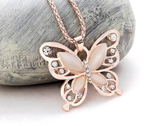 DHL Fashion Women butterfly Necklace Pendent Rose Gold Butterfly diamond Opal Pendant Exquisite Sweater Chain Necklace 60cm