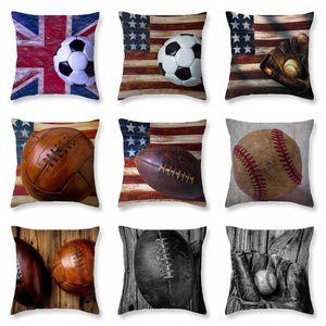 9styles Softbol Béisbol Fútbol Funda de almohada fundas de almohada Pillowslip de la bandera de la vendimia de fútbol Impreso Sofá Cojín Inicio decoración FFA2025