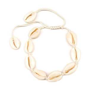 Bohemian Woven Natural Shell Wax Seil Fußkettchen für Frauen Fashion Handmade Braid Fußkettchen Strand Geknotet Fußschmuck Großhandel