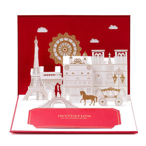 Top Grade 3D Pop Up Valentine Gift Greeting Card Gold Foil Red Invitations Postcard With Envelope