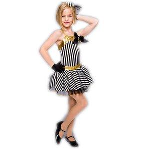 Schwarz-weiß gestreifter dreiteiliger Anzug Ballett-Tutu für Kinder Kinder tanzt Kleid Mädchen lateinisches Kleid professionellen Ballett-Tutu 202