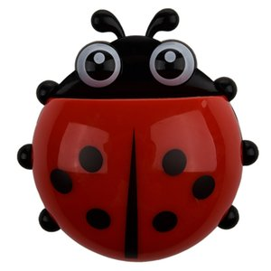 Convenient Bathroom Toothbrush Stuff Ladybug Wall Suction Holder-Red