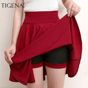 TIGENA Plus Size Mini Shorts Jupes Femmes 2019 A-ligne Casual taille haute jupe plissée Femme écolière Jupe patineuse Bleu