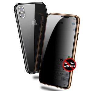 Cobertura completa anti peep adsorção magnética painel de vidro temperado telefone case para iphone xs max xr x 8 7 além de ímã anti espião capa