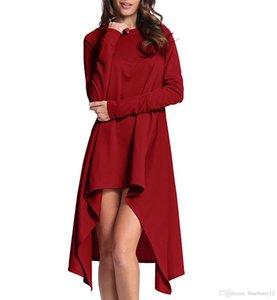 Mujeres Irregular Pullover Largo 5 Colores Otoño Sudaderas con capucha de manga larga para Mujer Tallas grandes con capucha Casual Tops