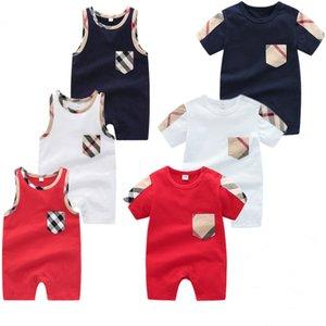 Yaz bebek çocuk bebek çocuk tasarımcı kıyafetleri erkek kızlar ekose O-boyun Kısa Kollu kolsuz Tulumlar Pamuk Romper Giyim WD95086