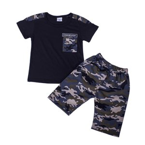 Fashion Kids camouflage outfit 2020 summer children letter printed pocket short sleeve sweatshirt+camouflage casual pants 2pcs sets A1947