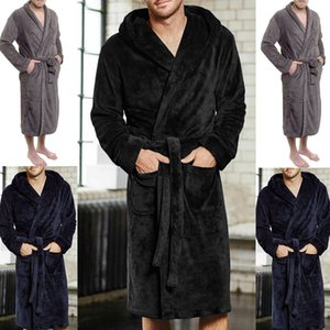 Fashion Casual Mens Bathrobes Flannel Robe V Neck Long Sleeve Couple Men Woman Robe Plush Shawl Kimono Warm Male Bathrobe Coat