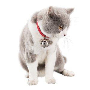 1Pcs Adjustable Leather Dog Collars Pet Cat Collars With Big Bell Charm Necklace Collar For Little Dogs Cat Collars Pet Supplies