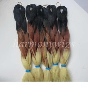L Kanekalon Jumbo Braid Hair 20inch 100g Black +Coffee Brown +Blonde Ombre Three Tone Color Xpression Synthetic Braiding Hair Extension