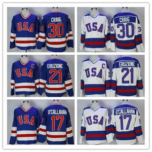 Uomo Vintage 1980 USA Jersey di hockey 30 Jim Craig 21 Mike Eruzione 17 Jack O'Callahan Team USA Miracle su maglie alternative cucite