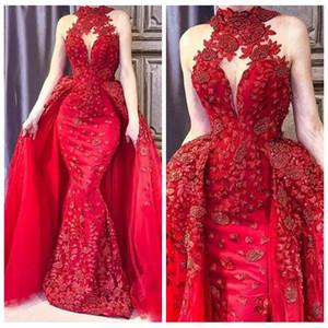 2019 Prom Dresses traspirante rosso treno trasandato collo alto in pizzo Appliques in rilievo vestito dal tappeto rosso Abric DuBai Evening Celebrity Party Gown