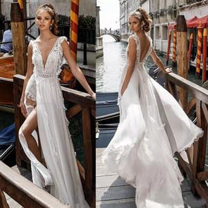 Romântico Side Dividir Flowy saia sexy vestidos de casamento nupcial profunda V Neck muito enfeitados corpete Open Back