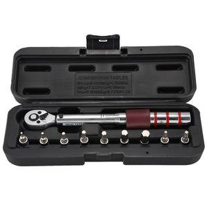 1/4 Inch Dr. 2-15Nm Mini ajustável Estrada Carbono Mão da bicicleta Ferramenta Kit Com Pro Set Bit predefinidos Torque Wrench Hex
