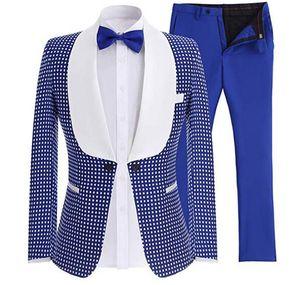 Popolare One Button Groomsmen Scialle Risvolto (giacca + pantaloni + cravatta) Smoking dello sposo Groomsmen Best Man Suit Abiti da sposo uomo Bridegroom A220
